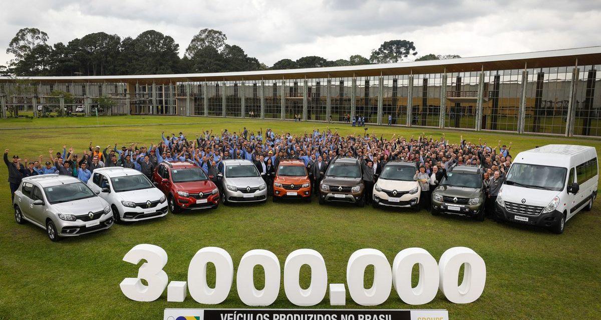 Renault: 3 milhões de veículos produzido no Brasil.